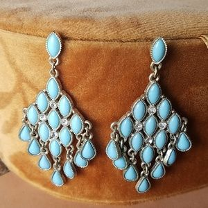 Jewelry - Silver and blue dangle earrings